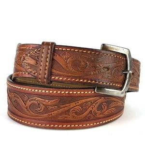Mens Tooled Brown Leather Wide Belt